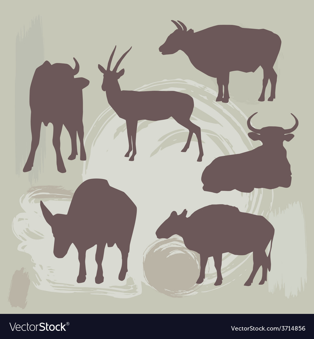 Cow bull and deer silhouette on grunge background vector | Price: 1 Credit (USD $1)
