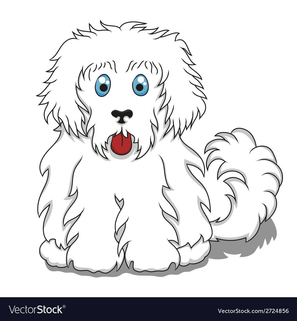 Cute fluffy cartoon dog vector | Price: 1 Credit (USD $1)