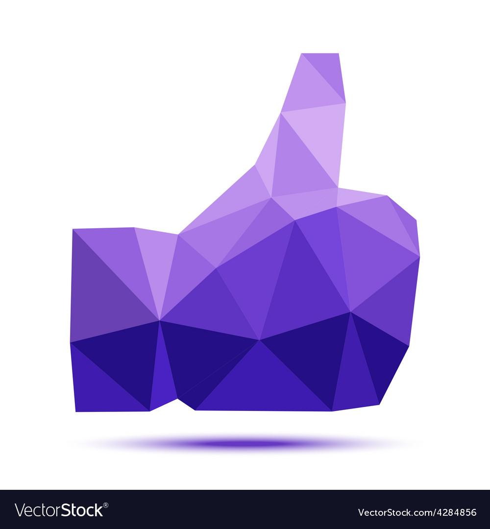Dark violet geometric triangular polygonal thumb vector | Price: 1 Credit (USD $1)