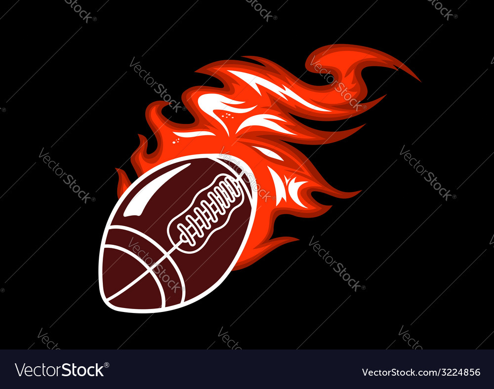 Flaming rugby ball vector | Price: 1 Credit (USD $1)