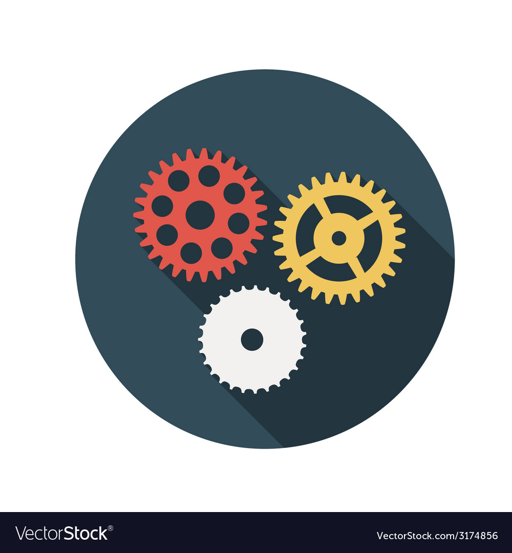 Flat design concept gears with long shadow vector | Price: 1 Credit (USD $1)