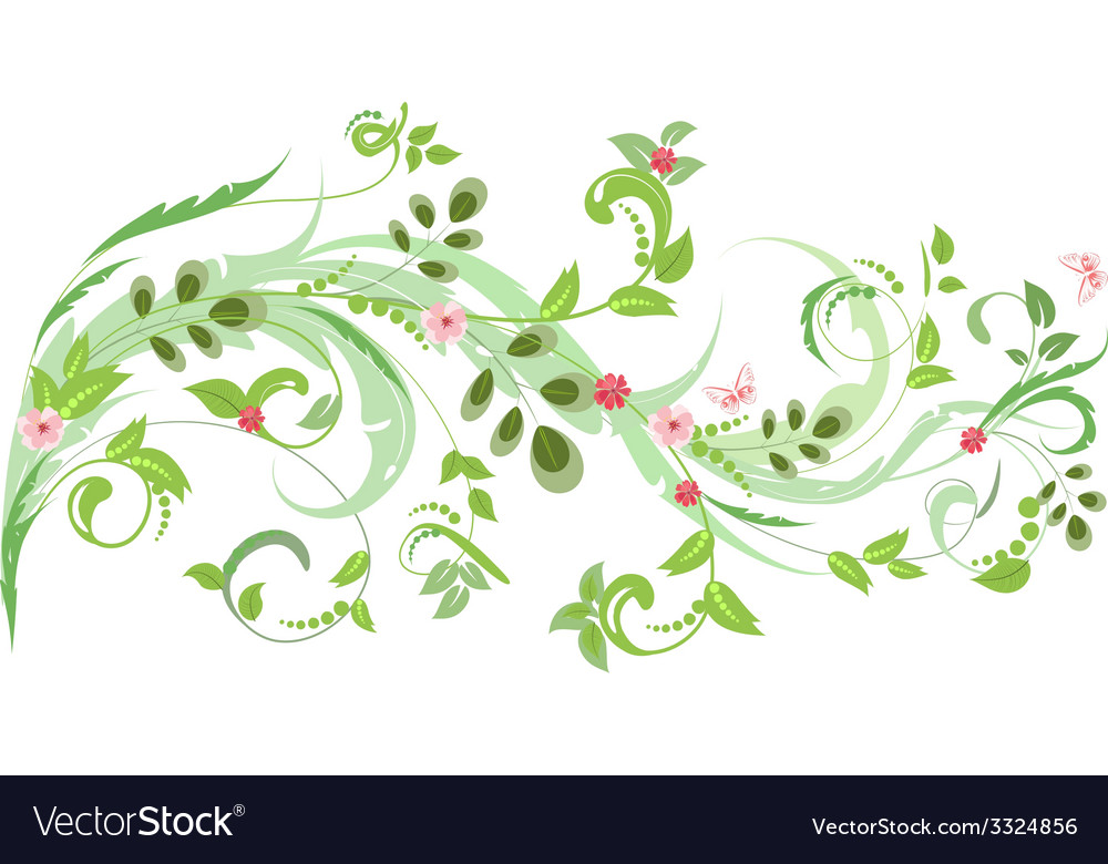 Floral ornament with butterflies for your design vector | Price: 1 Credit (USD $1)