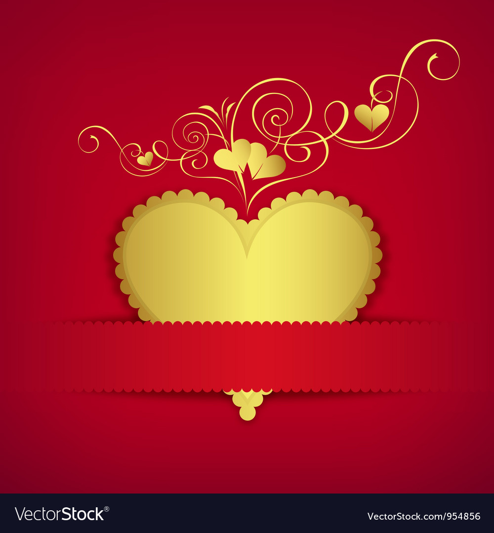 Gold heart classic valentine day greeting card vector | Price: 1 Credit (USD $1)