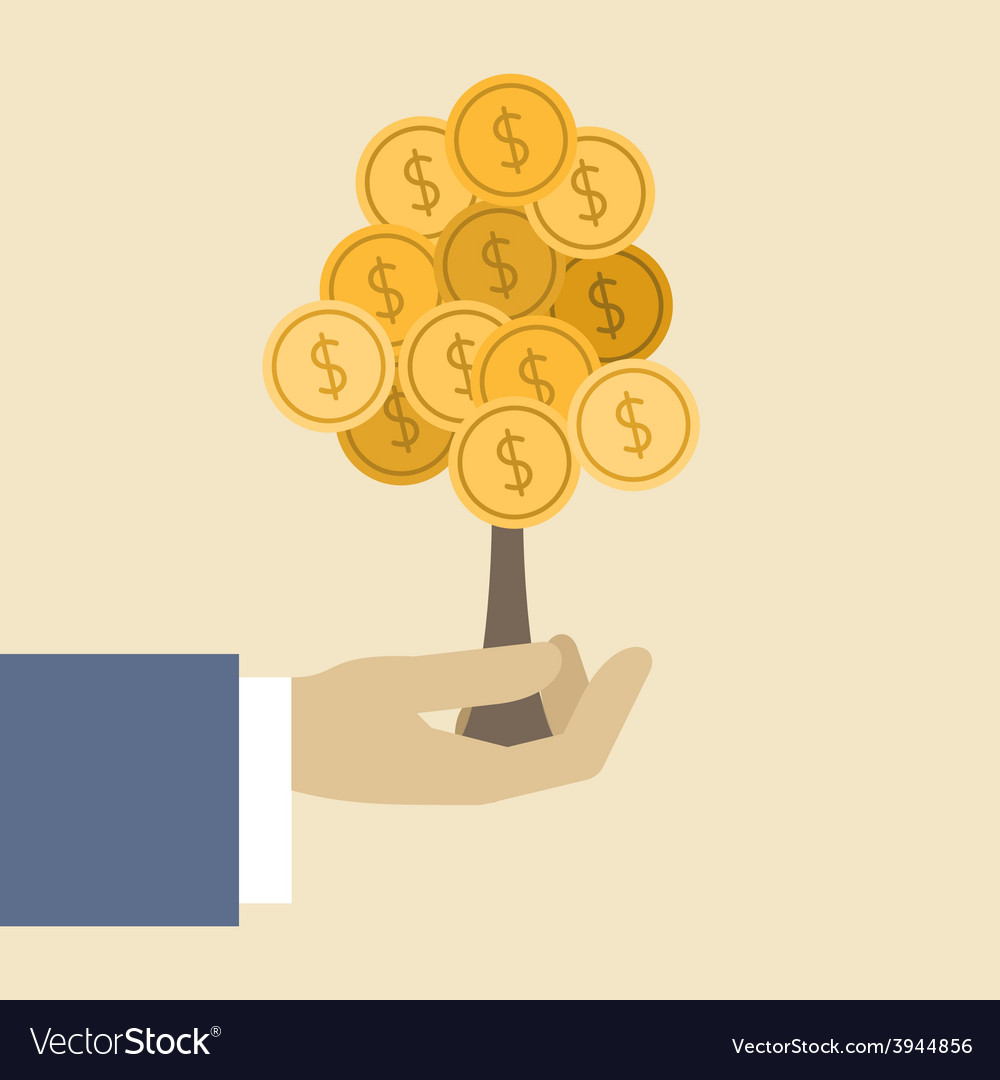 Money tree concept flat design stylish isolated on vector | Price: 1 Credit (USD $1)
