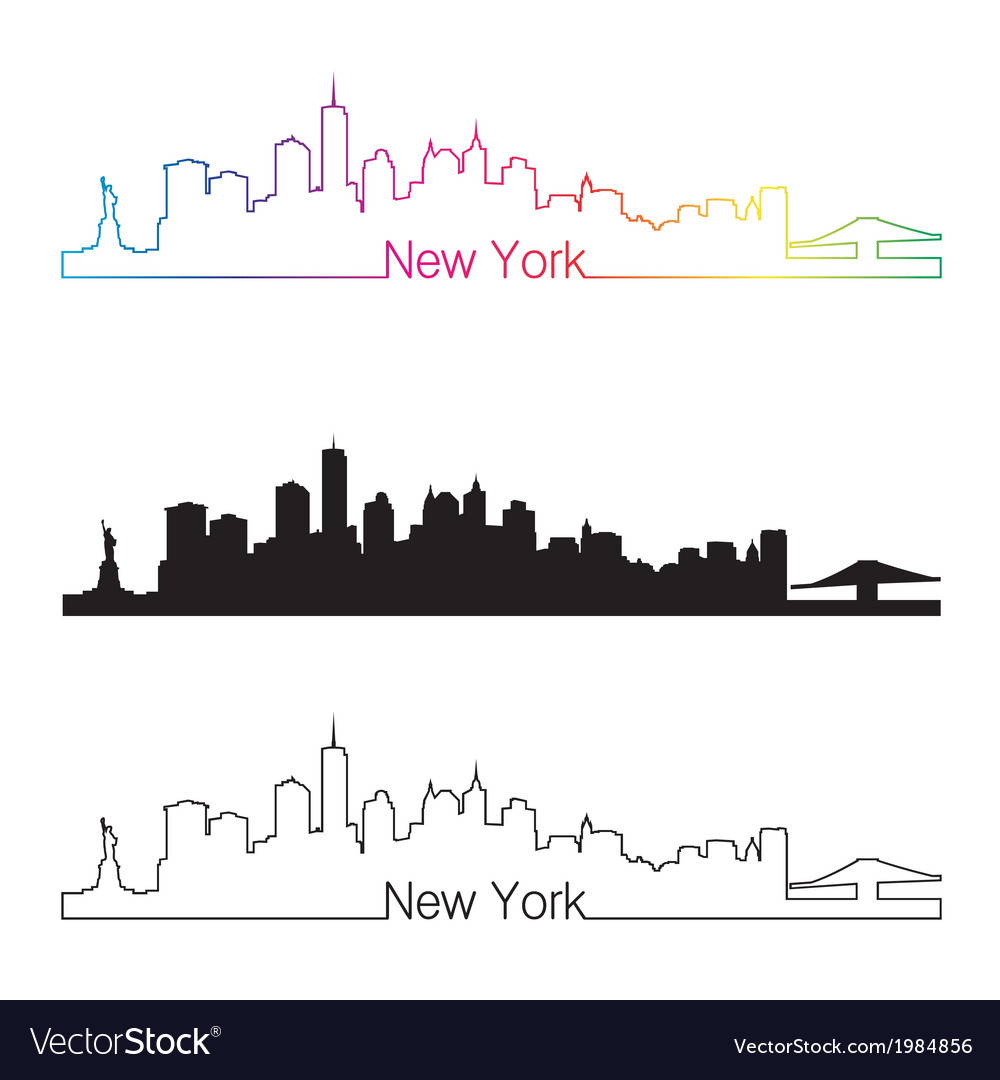 New york skyline linear style with rainbow vector | Price: 1 Credit (USD $1)