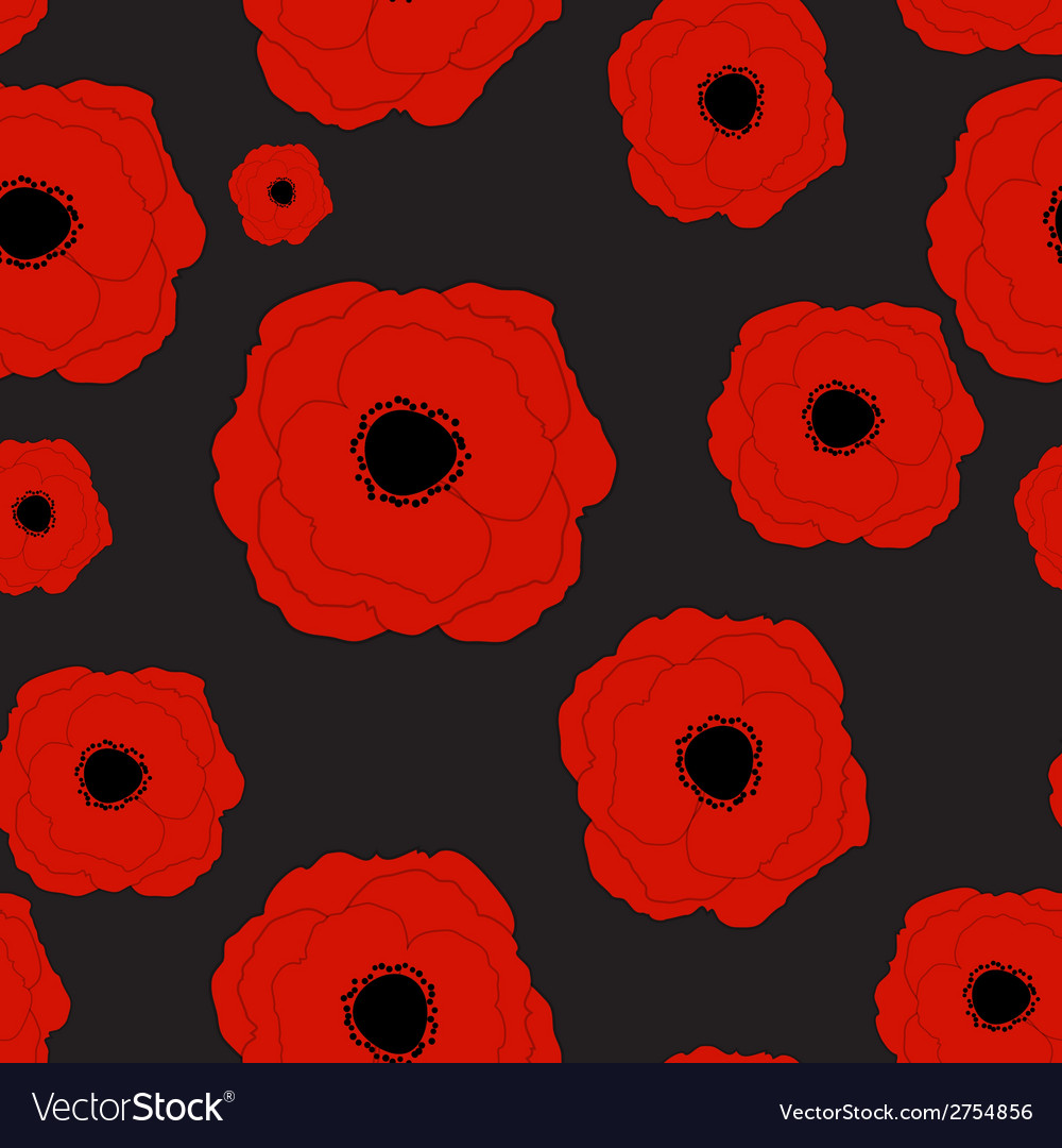 Red poppies flower seamless pattern background vector | Price: 1 Credit (USD $1)