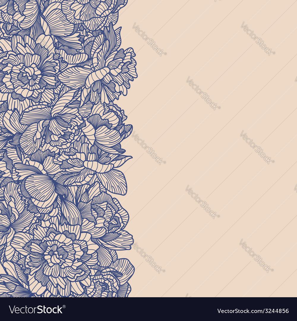 Seamless blue peony border vector | Price: 1 Credit (USD $1)