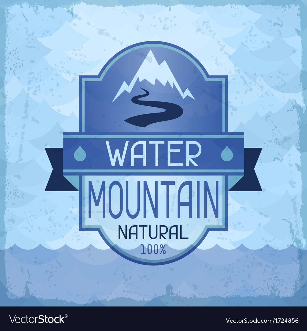 Water mountain background in retro style vector | Price: 1 Credit (USD $1)