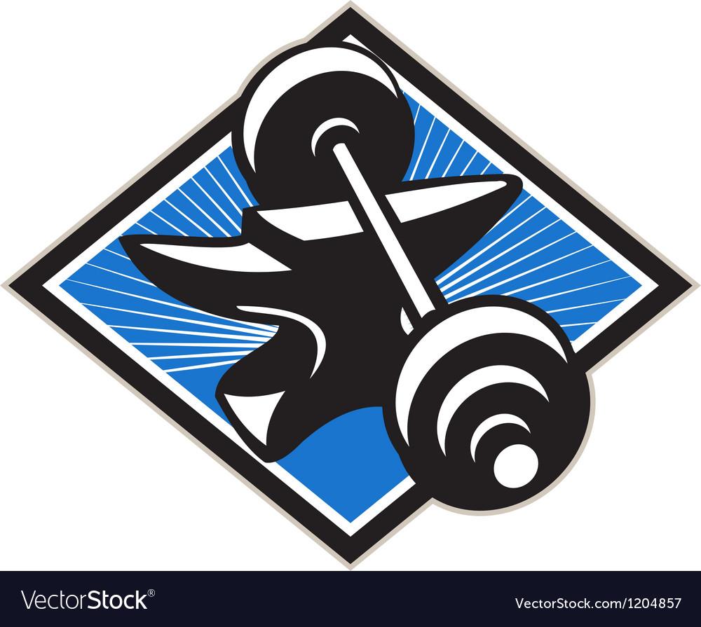 Anvil and barbell retro vector | Price: 1 Credit (USD $1)