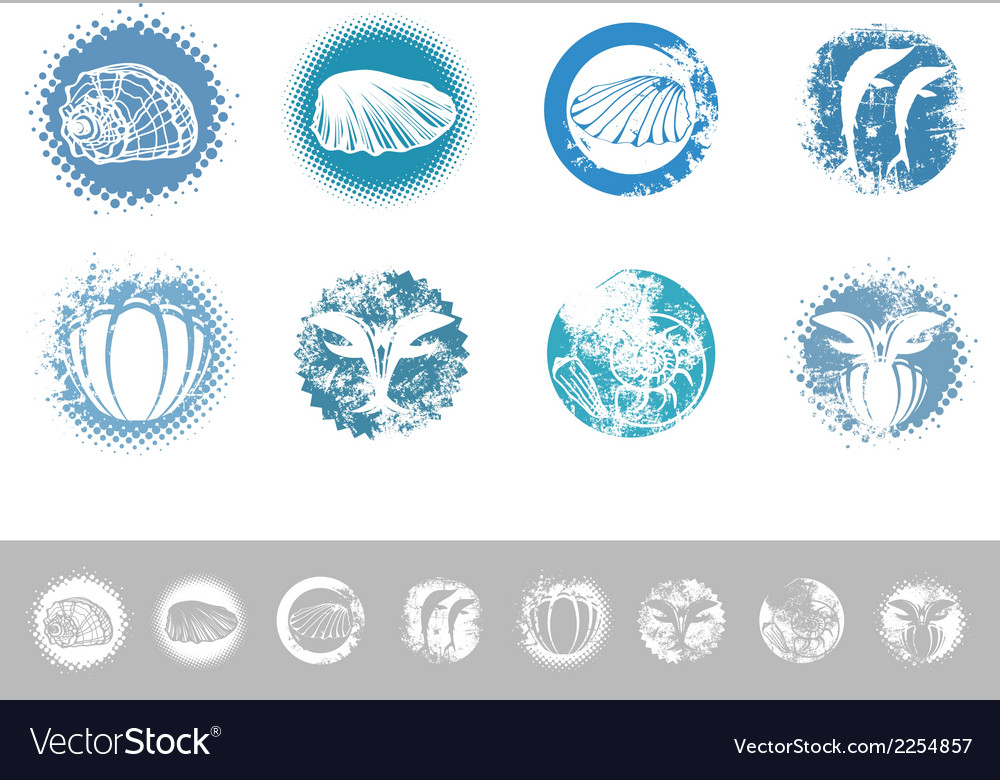 Collection of vintage marine design labels vector | Price: 1 Credit (USD $1)
