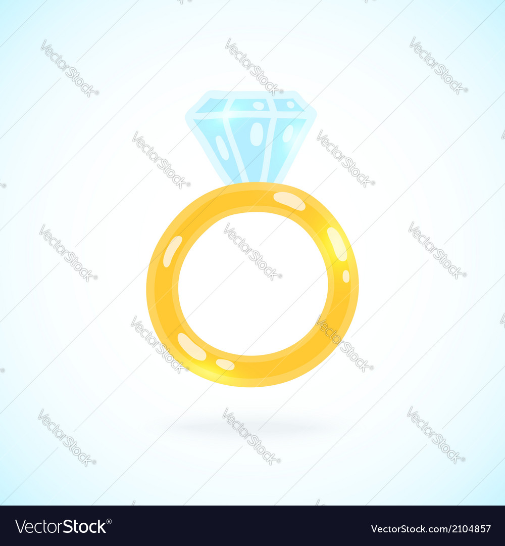 Cute cartoon ring with brilliant engagement ring vector | Price: 1 Credit (USD $1)