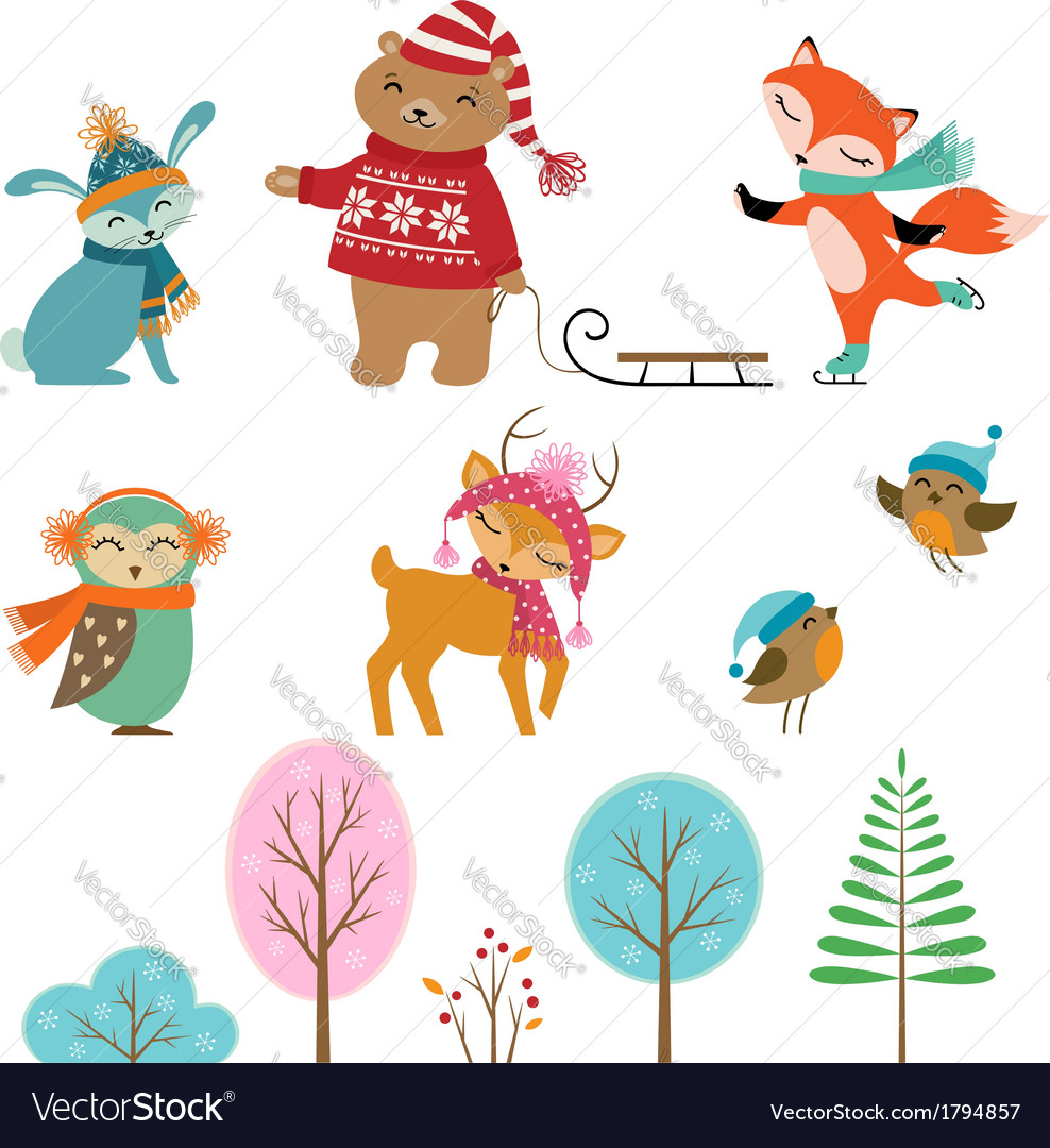 Cute winter animals vector | Price: 1 Credit (USD $1)