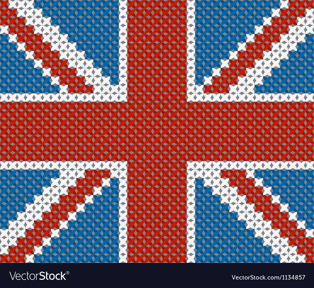 Great britain flag background made with embroidery vector | Price: 1 Credit (USD $1)
