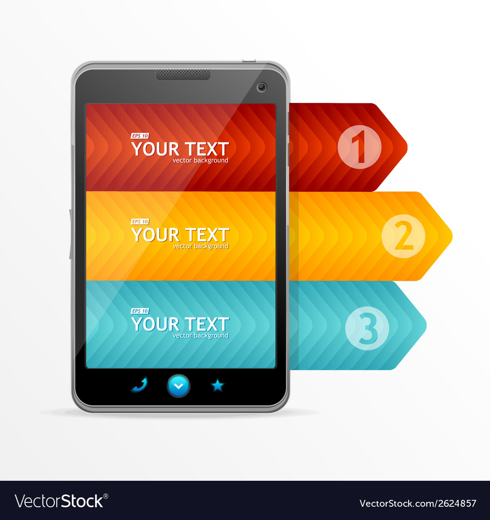 Smartphone with infographic option banner vector | Price: 1 Credit (USD $1)