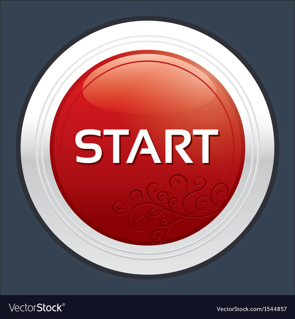 Start button round sticker metallic icon vector | Price: 1 Credit (USD $1)