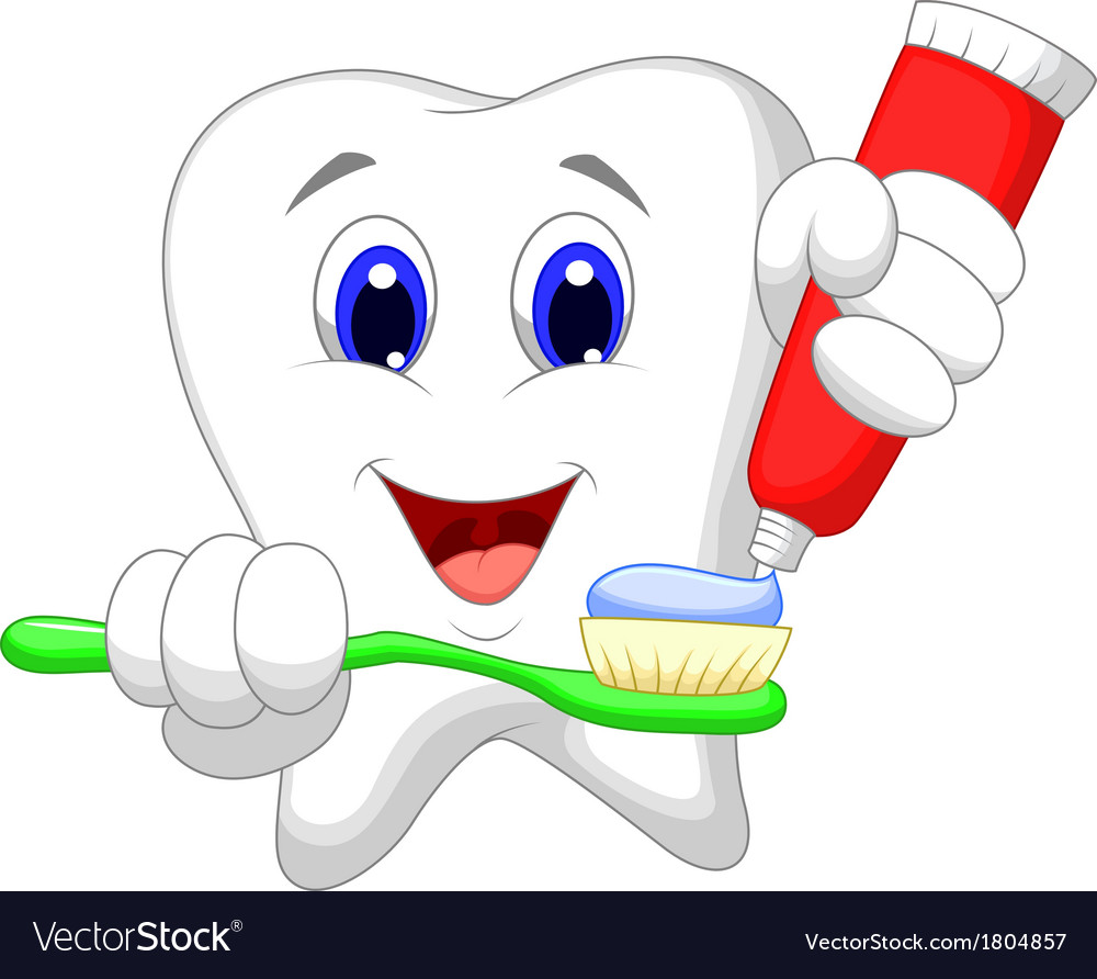 Tooth cartoon putting tooth paste on her toothbrus vector | Price: 1 Credit (USD $1)
