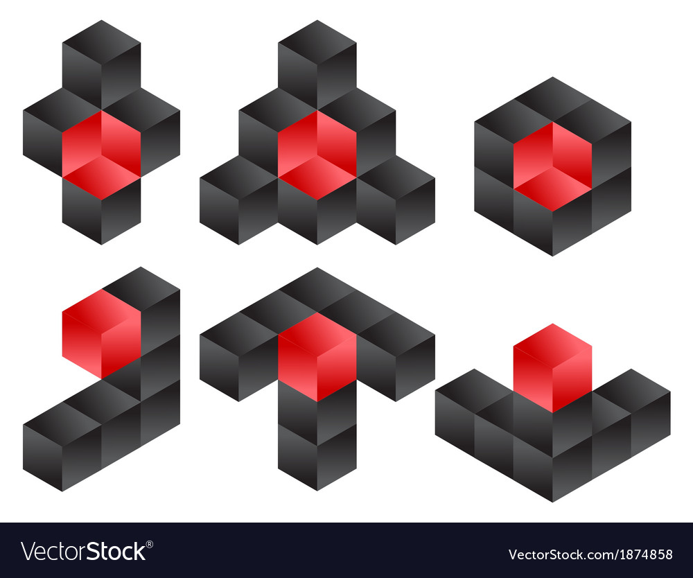 3d cube logo icon design set vector | Price: 1 Credit (USD $1)