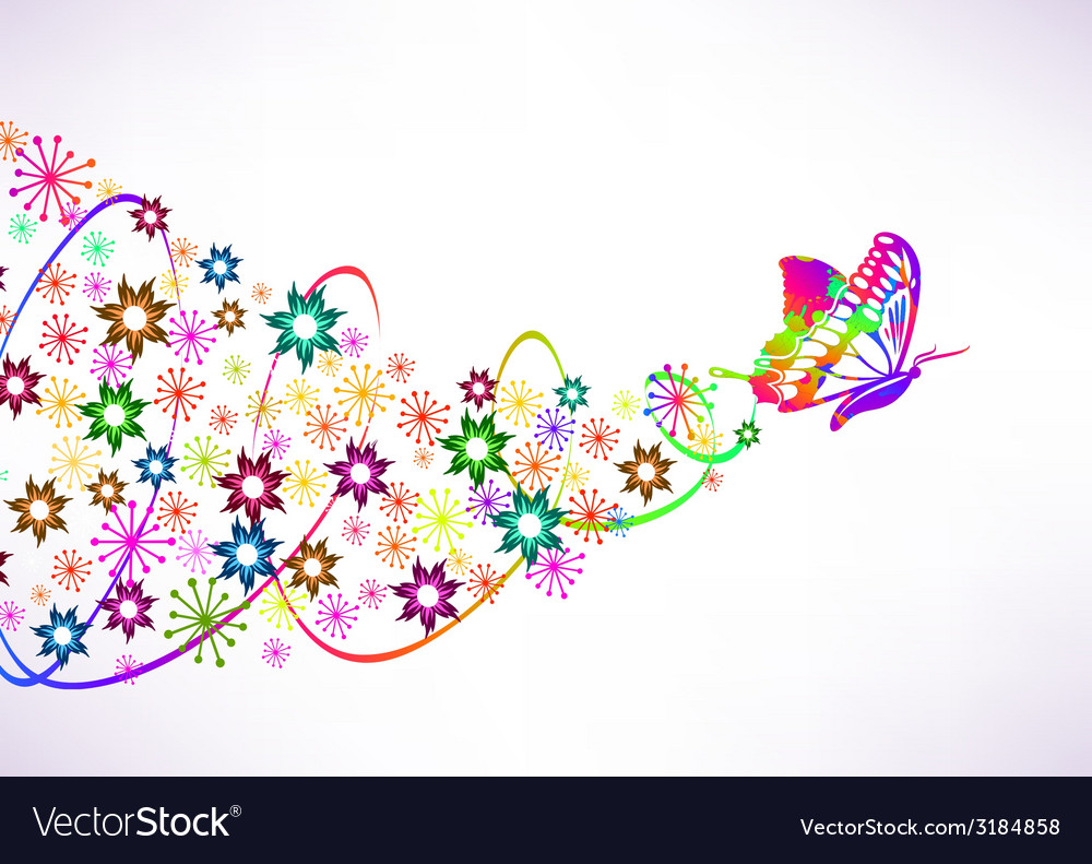 Abstract background with butterfly and flowers vector | Price: 1 Credit (USD $1)