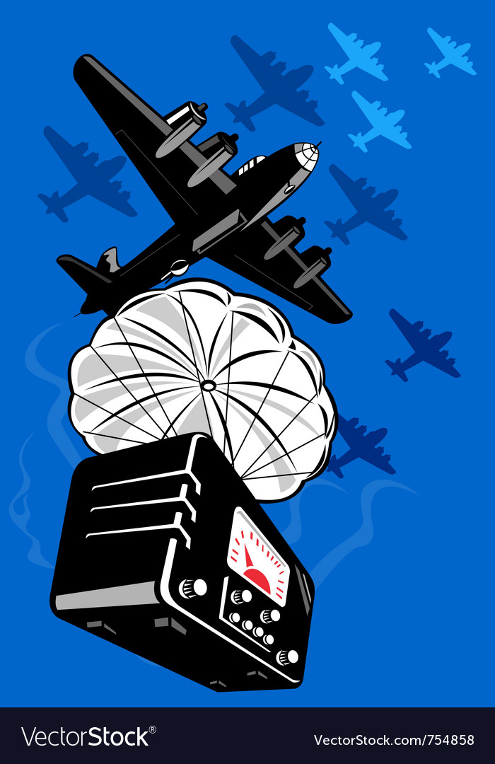 Bomber airplane dropping radio parachute vector | Price: 1 Credit (USD $1)