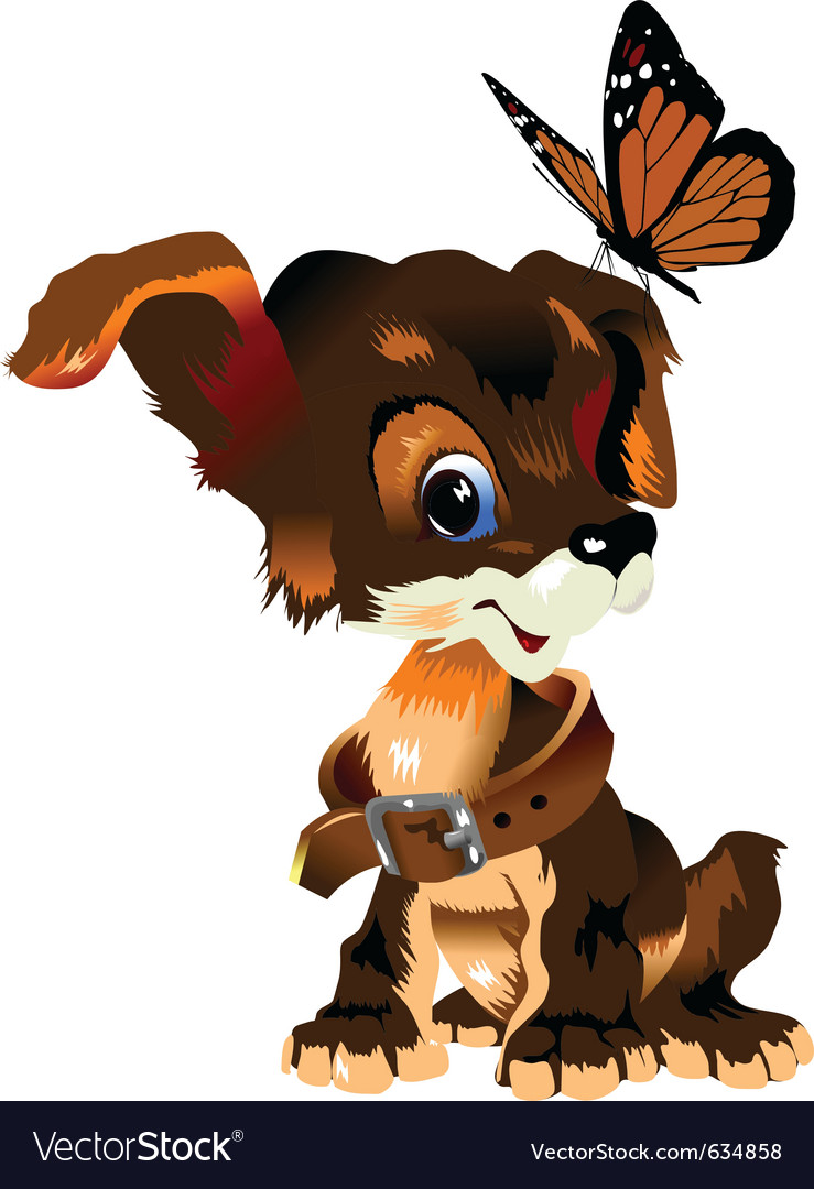 Dog and butterfly vector | Price: 1 Credit (USD $1)