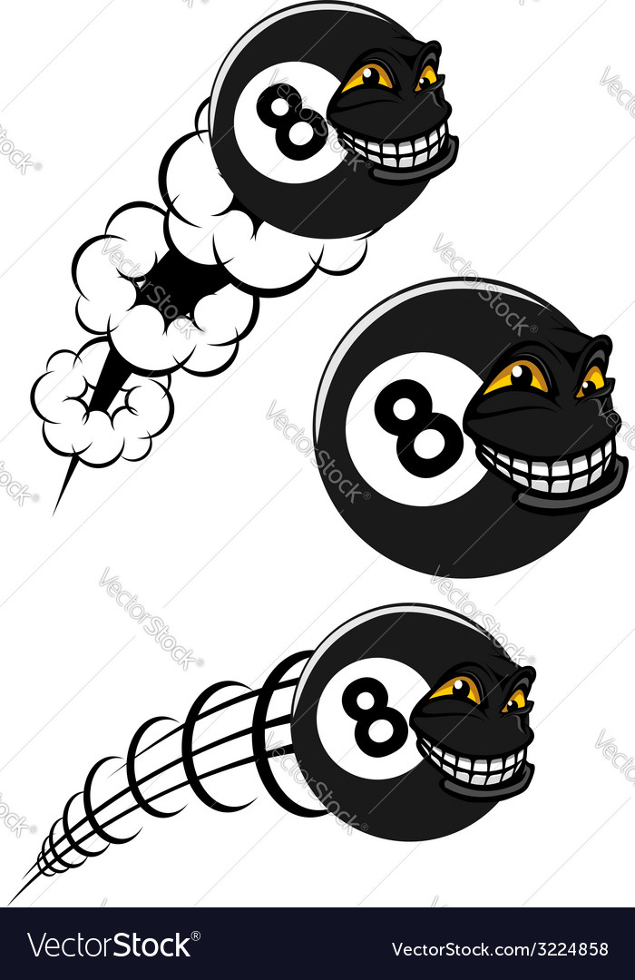 Flying victorious number 8 billiard ball icons vector | Price: 1 Credit (USD $1)