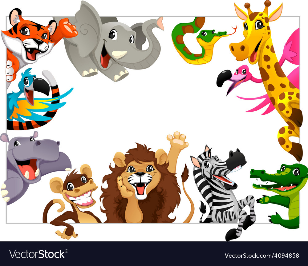 Funny group of jungle animals vector | Price: 3 Credit (USD $3)