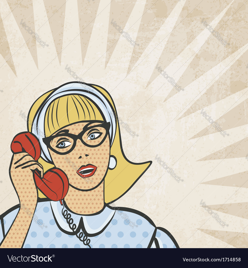 Girl with telephone in retro style vector | Price: 1 Credit (USD $1)