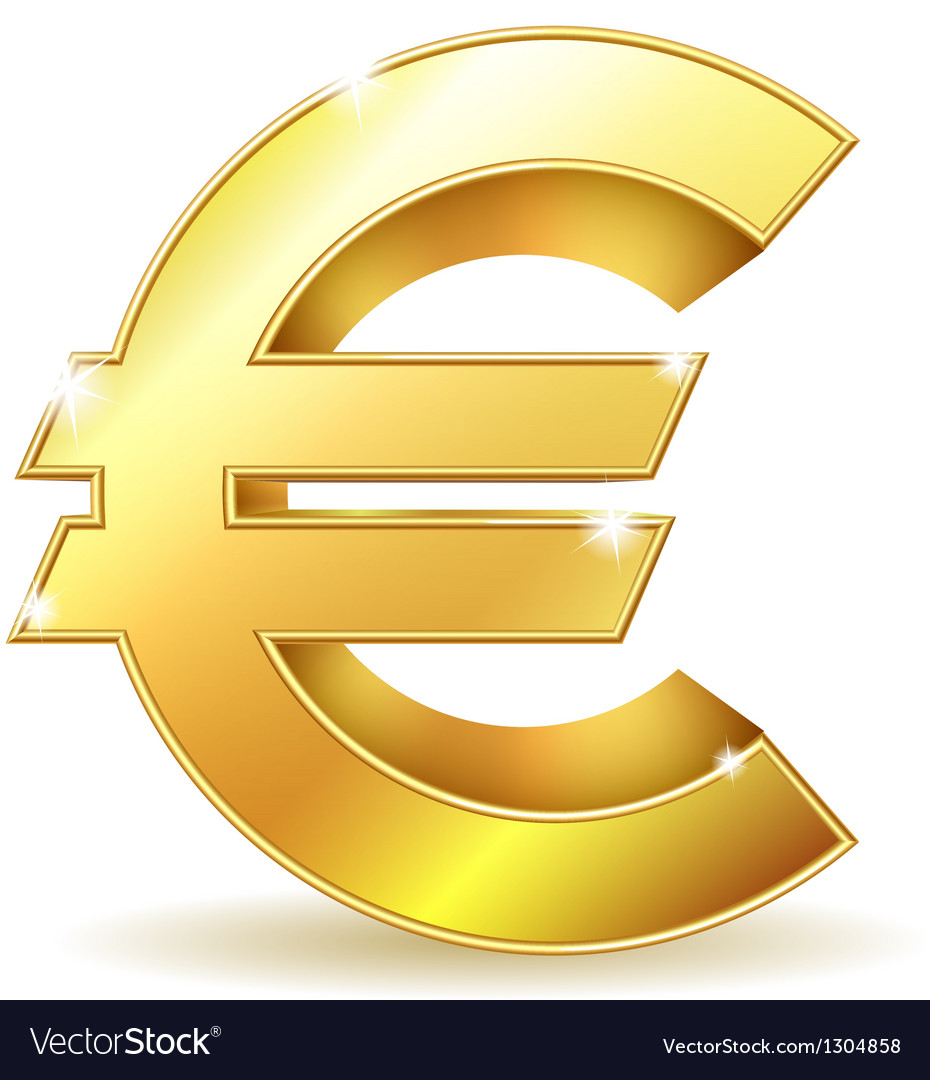 Gold sign euro currency vector   Price: 3 Credit (USD $3)