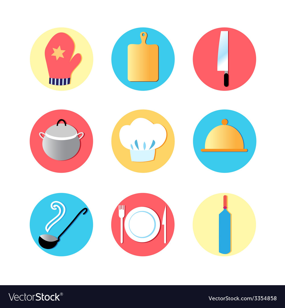 Kitchen utensils and kitchen flat icons vector | Price: 1 Credit (USD $1)