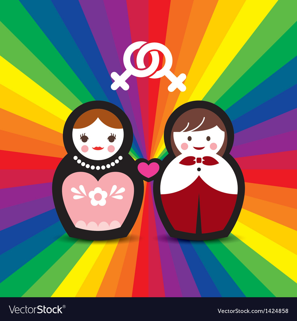 Lesbian couple married doll vector | Price: 1 Credit (USD $1)