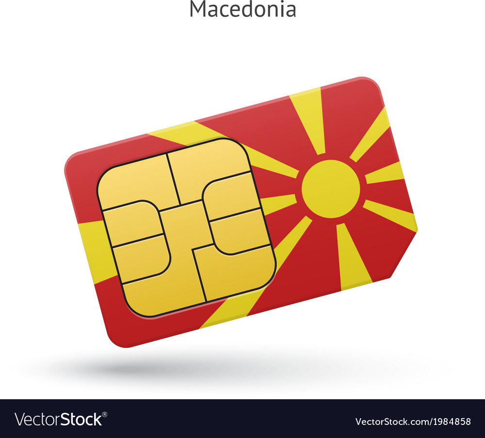 Macedonia mobile phone sim card with flag vector | Price: 1 Credit (USD $1)