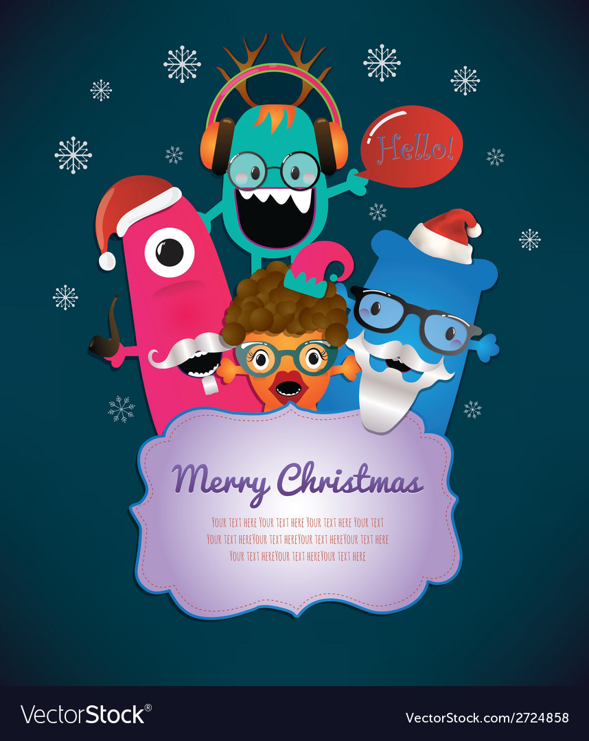 Monster merry christmas card design vector | Price: 1 Credit (USD $1)