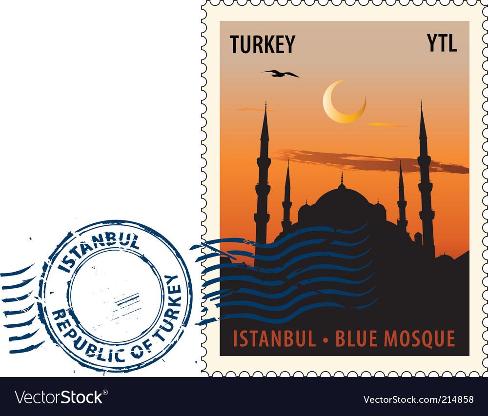 Postmark from istanbul vector