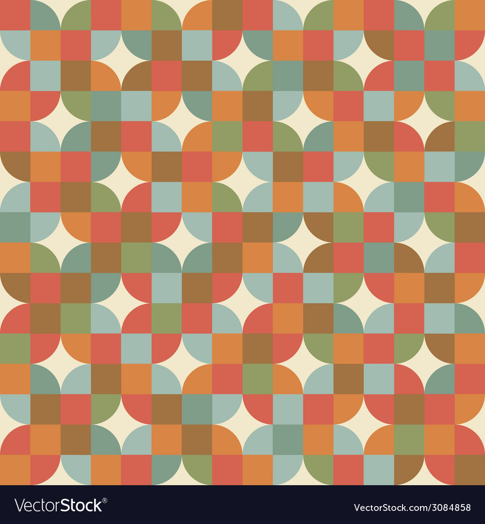 Seamless mosaic tiles pattern in retro style vector | Price: 1 Credit (USD $1)