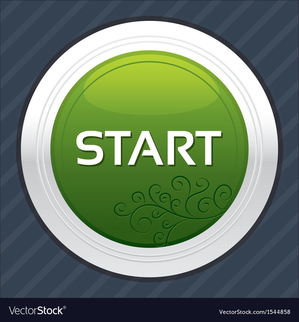 Start button green round sticker vector | Price: 1 Credit (USD $1)