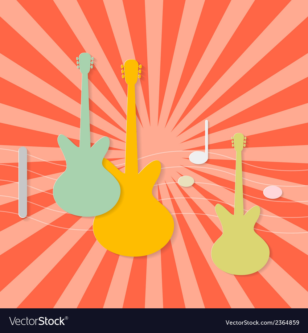 Abstract paper guitars on retro red background vector | Price: 1 Credit (USD $1)