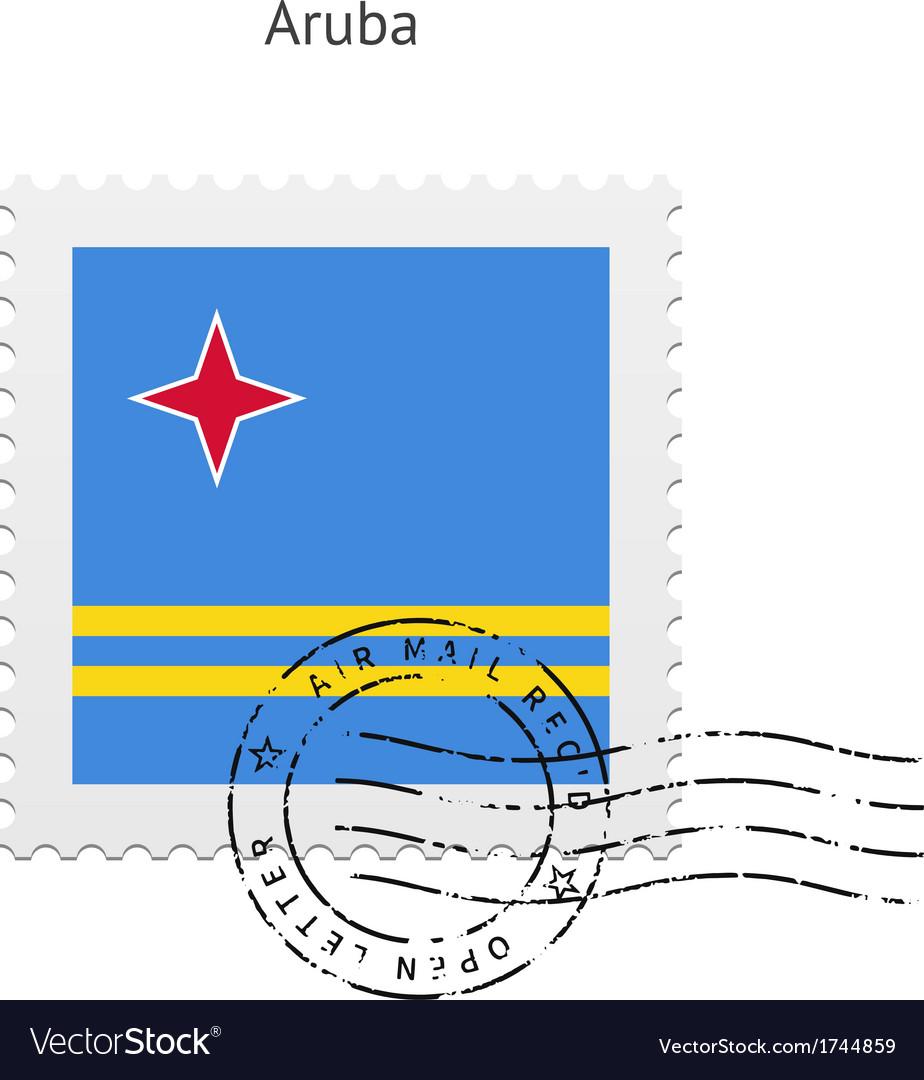 Aruba flag postage stamp vector   Price: 1 Credit (USD $1)