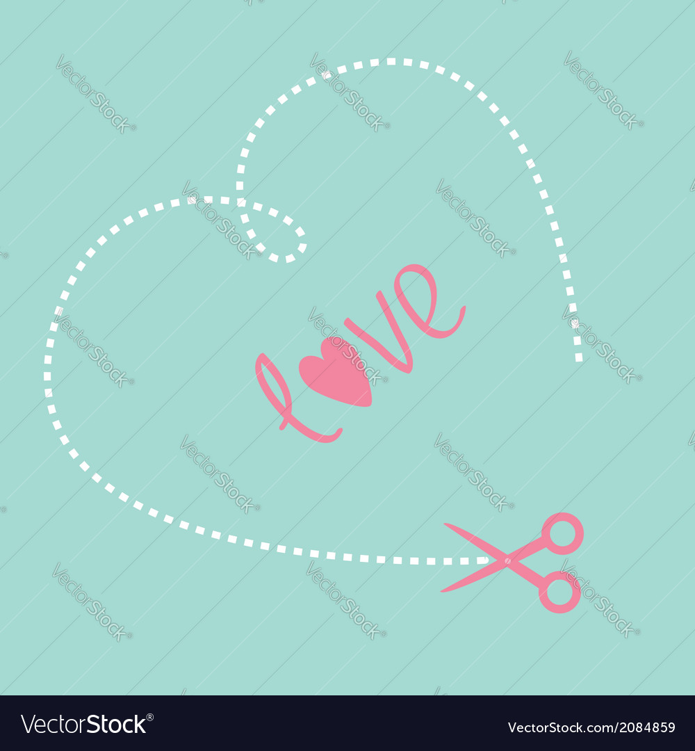 Big dash heart on the blue background and scissors vector | Price: 1 Credit (USD $1)