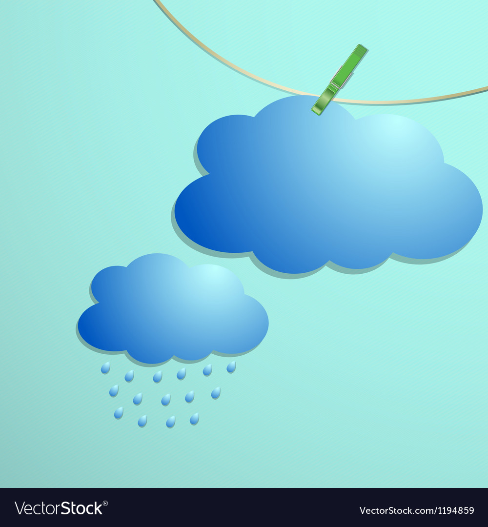 Cloud and rain drops icon hang on string vector | Price: 1 Credit (USD $1)