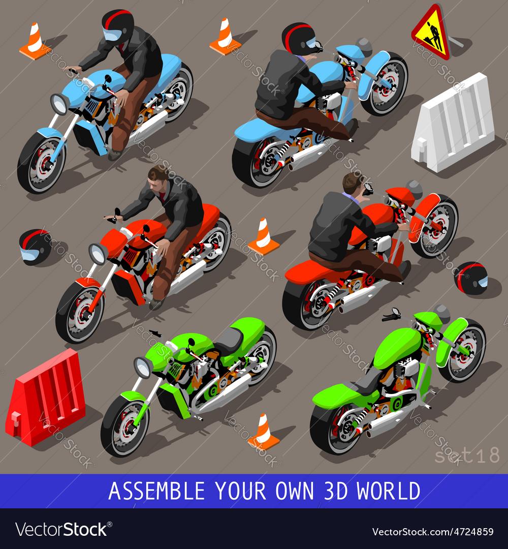 Isometric flat 3d vehicle bikers set vector | Price: 3 Credit (USD $3)