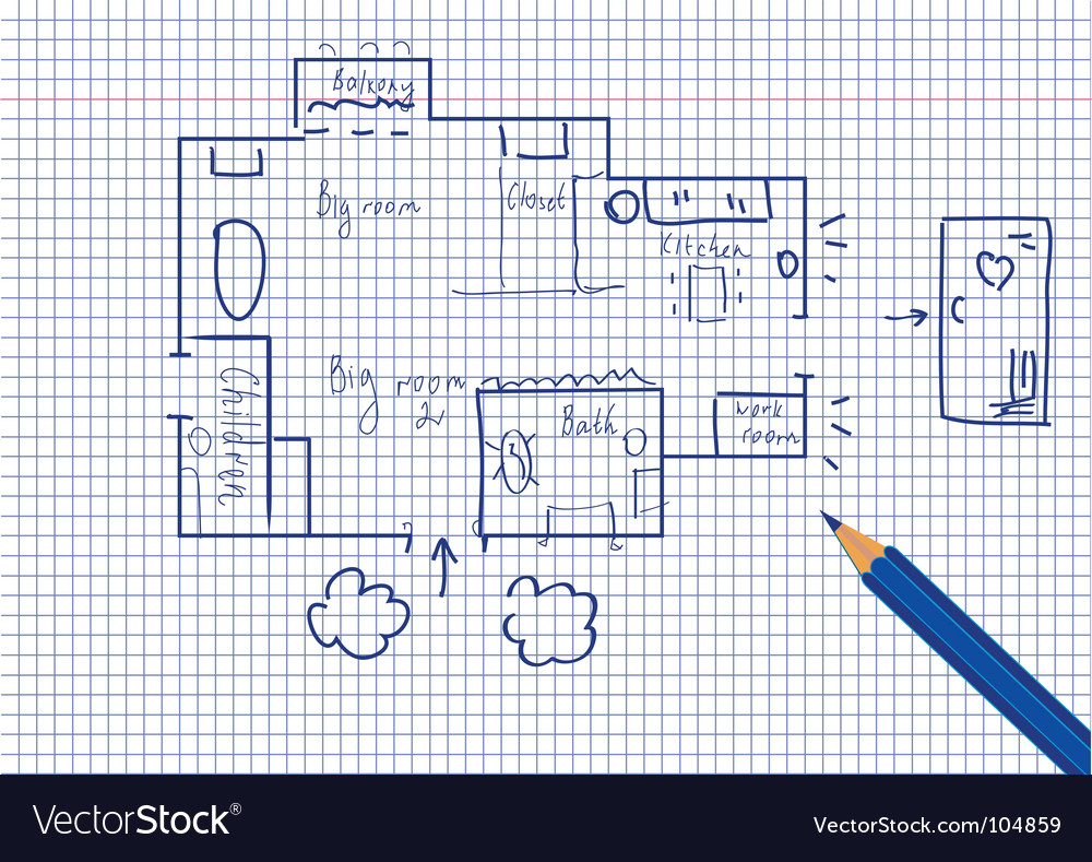 Plan of flat vector | Price: 1 Credit (USD $1)
