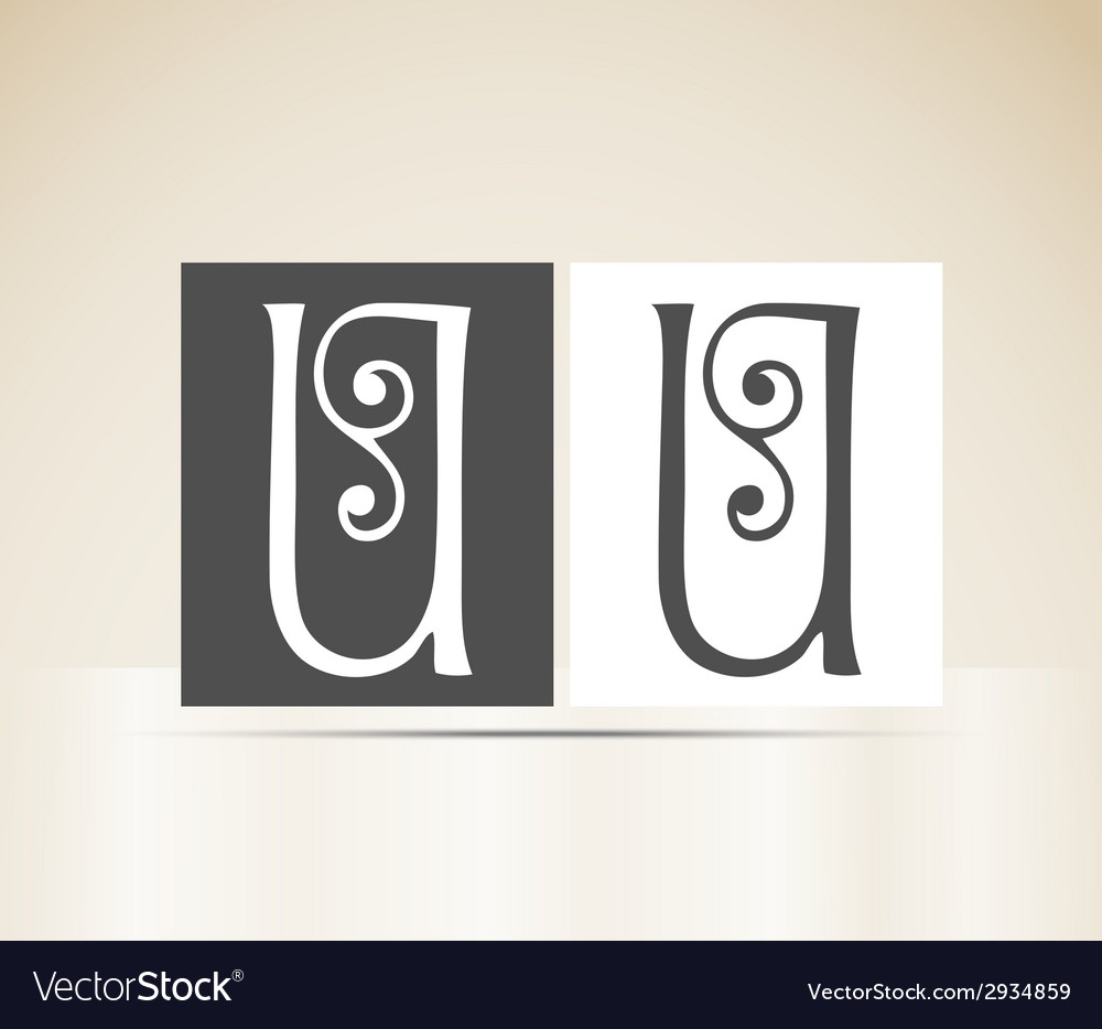 Retro alphabet letter u art deco vintage design vector | Price: 1 Credit (USD $1)