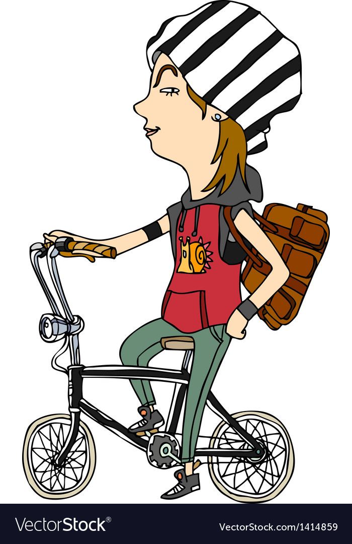 Side view of girl sitting on bicycle vector | Price: 1 Credit (USD $1)