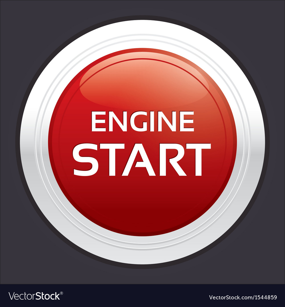 Start engine button red round sticker vector | Price: 1 Credit (USD $1)