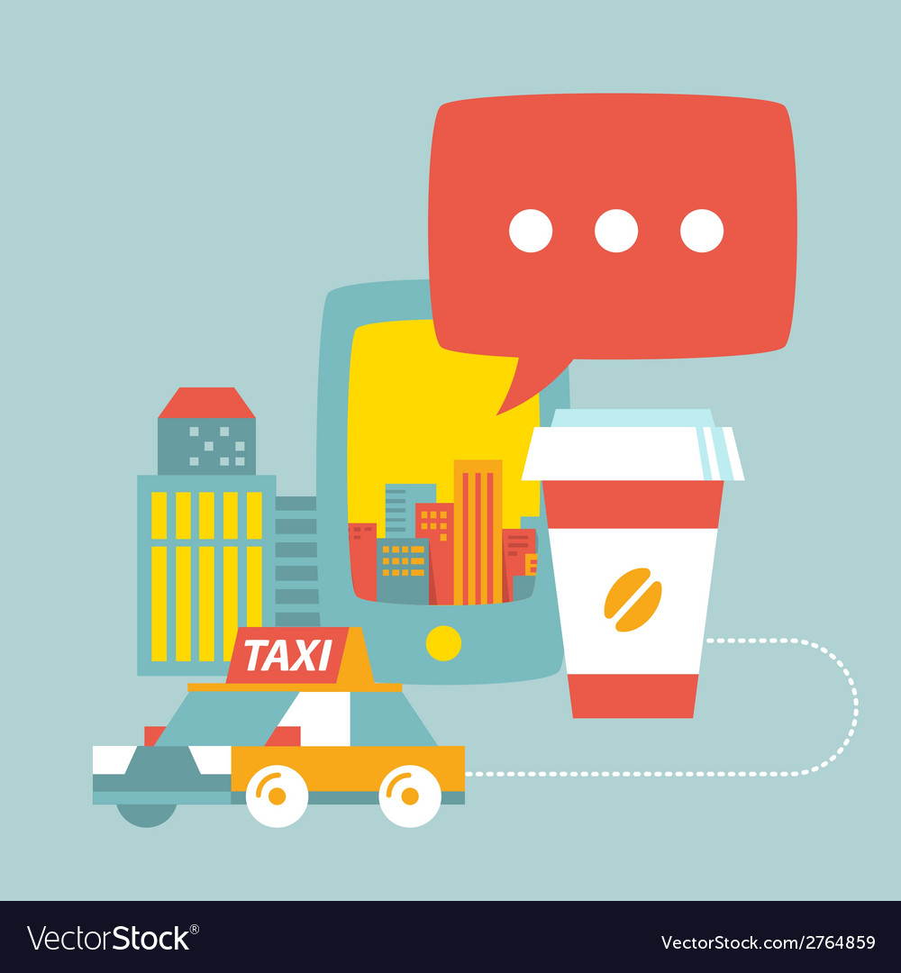 Taxi service in city of buildings coffee and phone vector | Price: 1 Credit (USD $1)