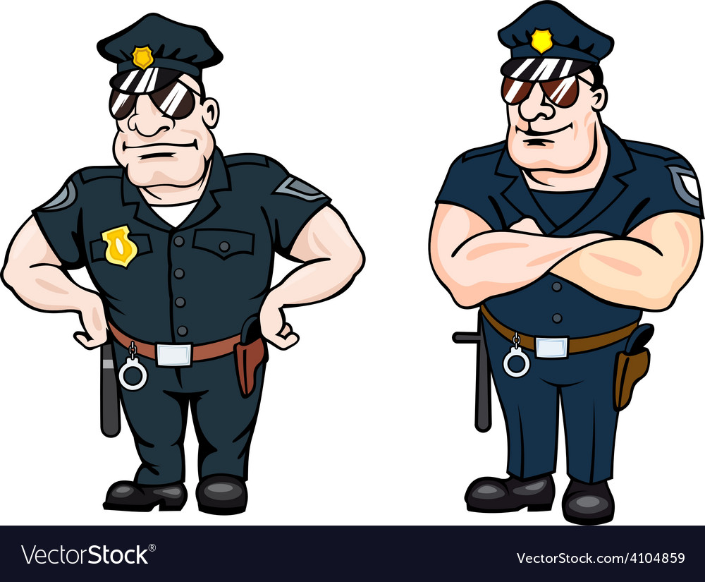 Two large beefy determined police officers vector | Price: 1 Credit (USD $1)