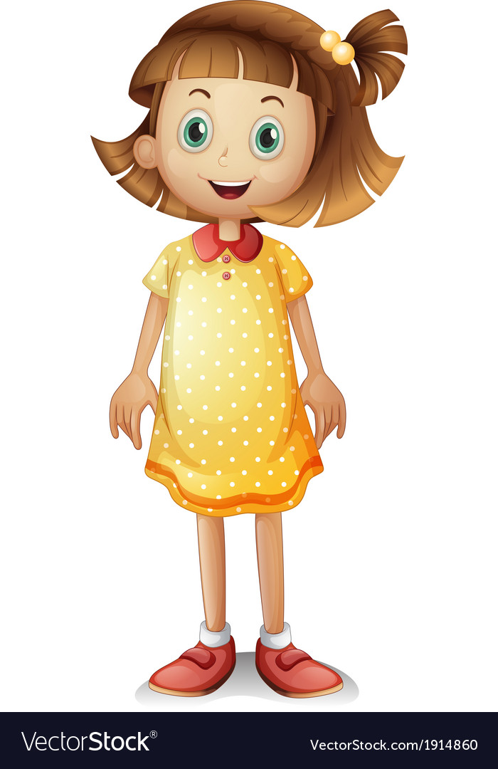 A cute young girl wearing a yellow polka dress vector | Price: 3 Credit (USD $3)