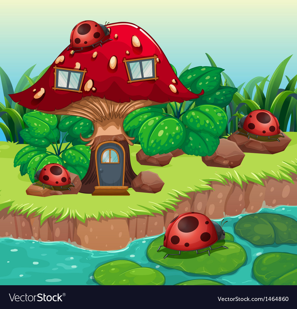 Bugs outside the mushroom house vector | Price: 1 Credit (USD $1)