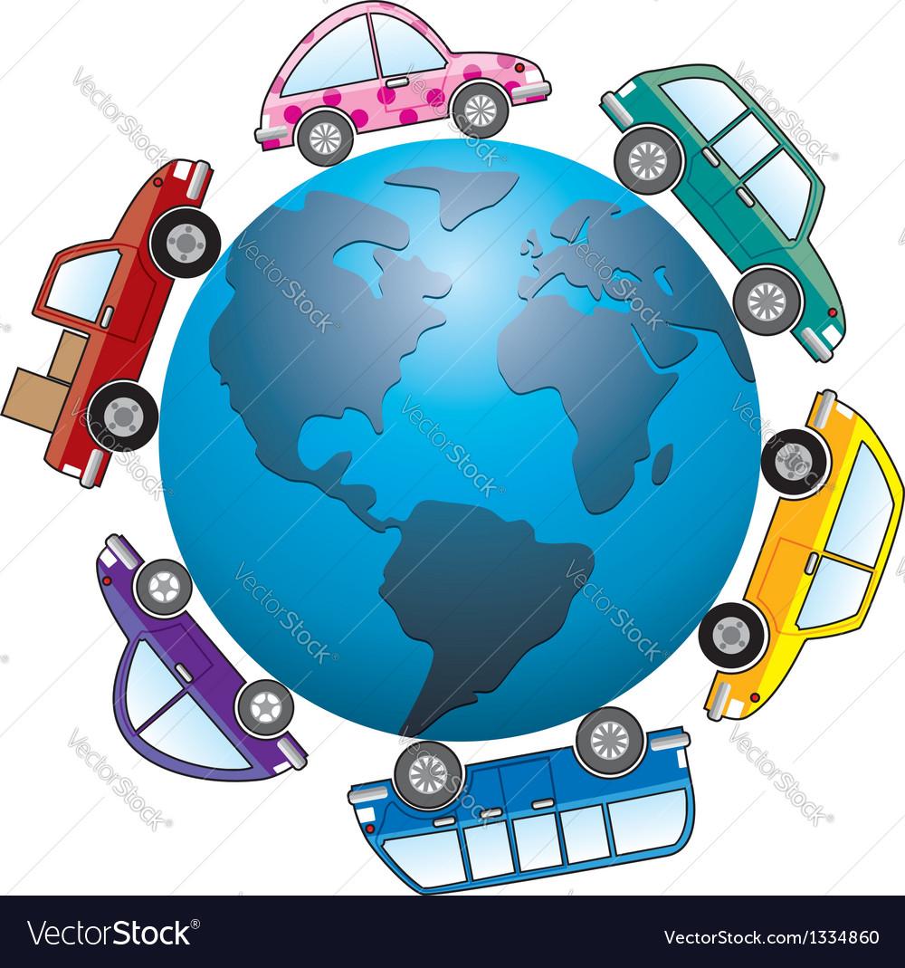 Cars around earth globe vector | Price: 1 Credit (USD $1)
