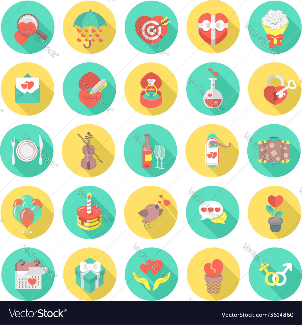 Love and dating round flat icons vector | Price: 1 Credit (USD $1)